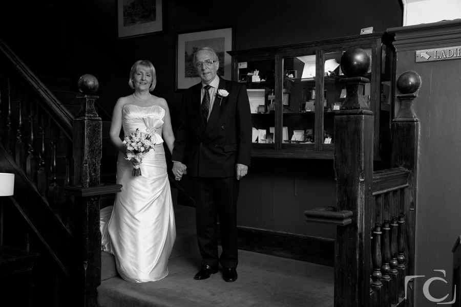 wedding photography Bride and Father George Hotel Stamford